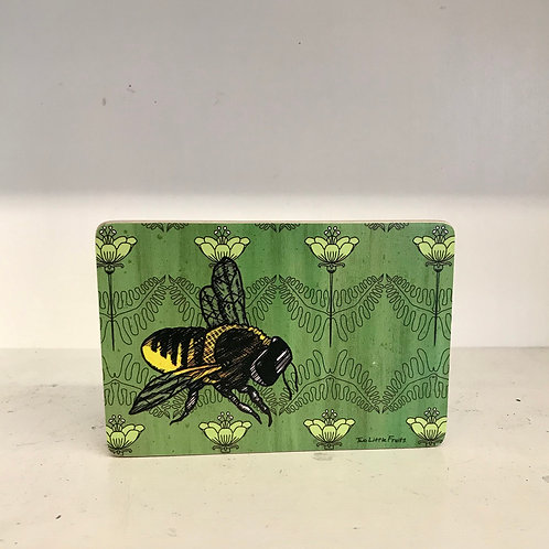 Bee Poppies Wood Art Block