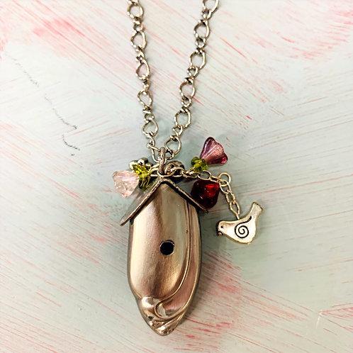 Silver Birdhouse Necklaces
