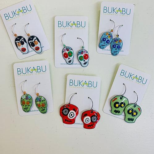 Handmade Enamel Skull Earrings
