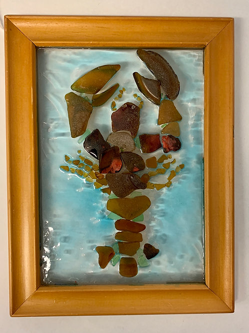 Handmade Sea Glass Lobster Framed Art