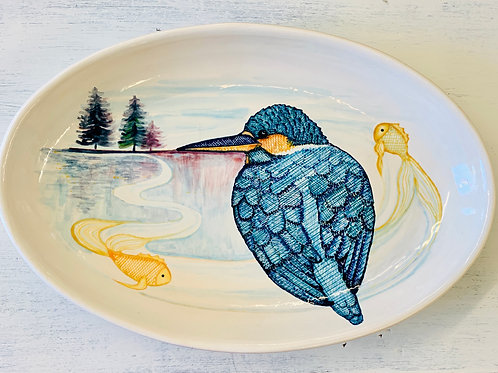 Hand Painted Kingfisher Oval Serving Tray