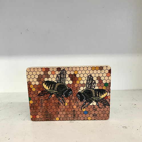 Rustic Honeybee Wood Art Block