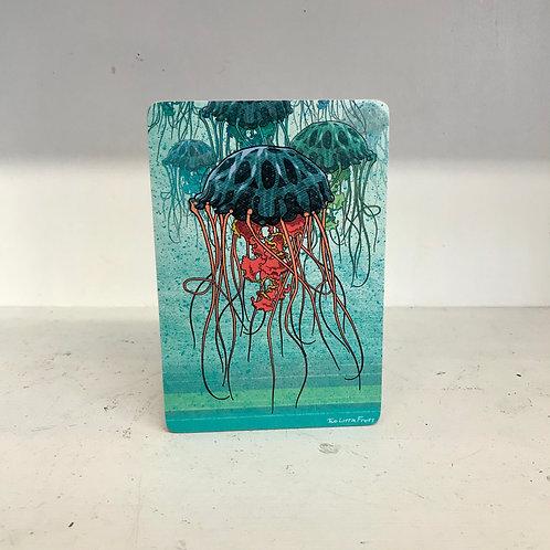 Jellyfish Army Wood Art Block