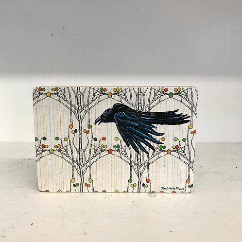 Crow in the Aspens Wood Art Block
