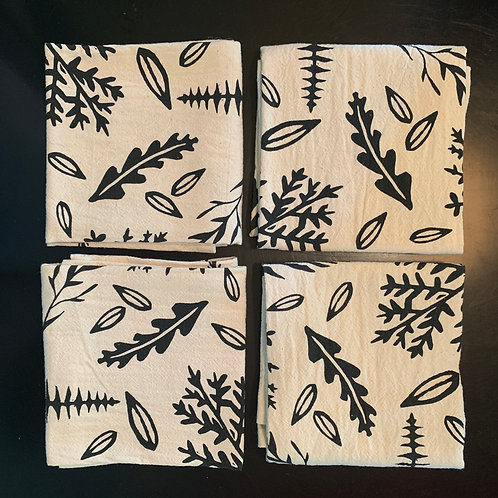 Organic Cotton Cloth Napkins - set of 4 - Leaves