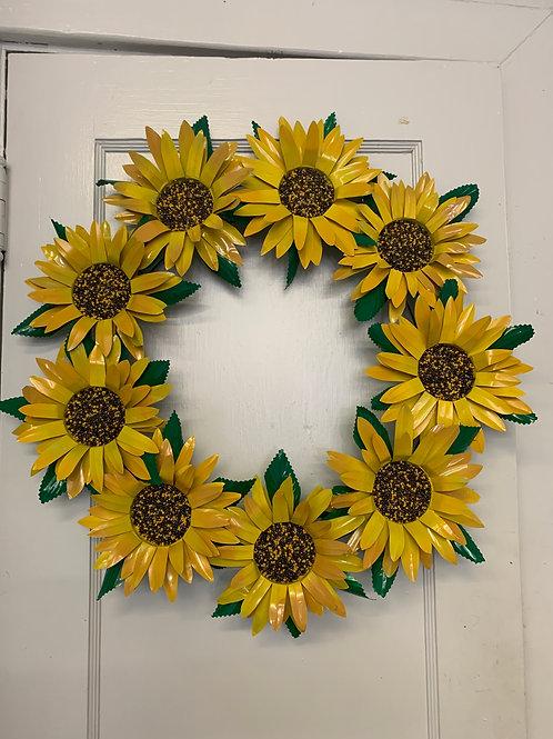 Sunflower Repurposed Can Flower Wreaths