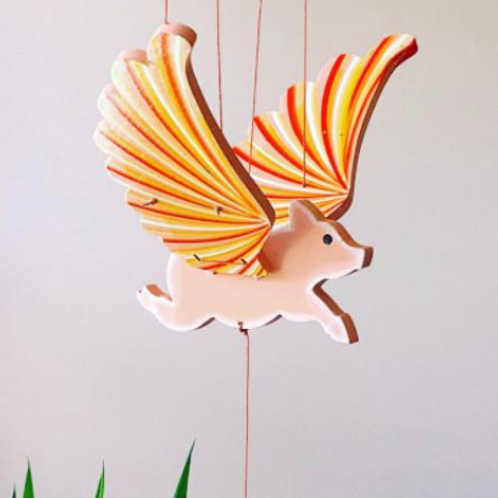 Handcrafted Flying Pig Mobile