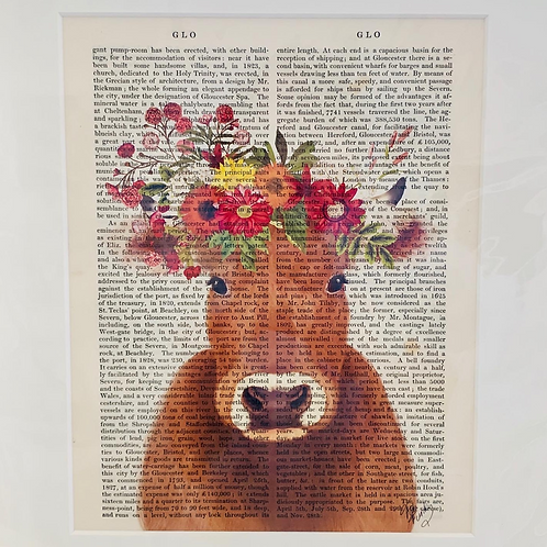 Brown Cow with Flower Crown Art Print