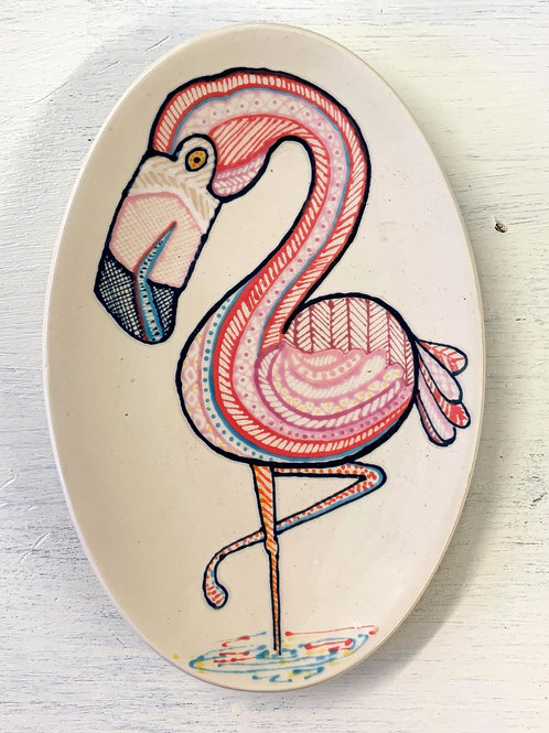 Hand Painted Small Flamingo Oval Dish