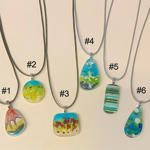 Fused Glass Pendant Necklaces