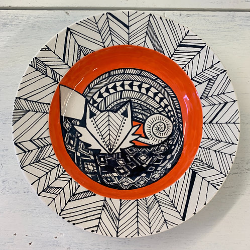Hand Painted Fox Round Serving Bowl