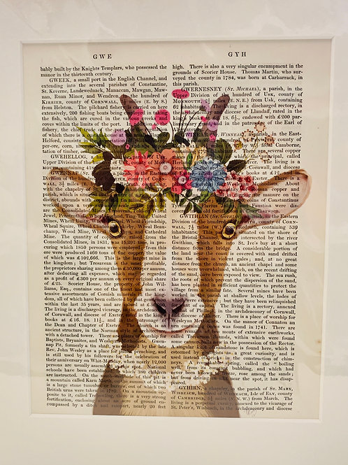 Bohemian Goat with Flower Crown Art Print