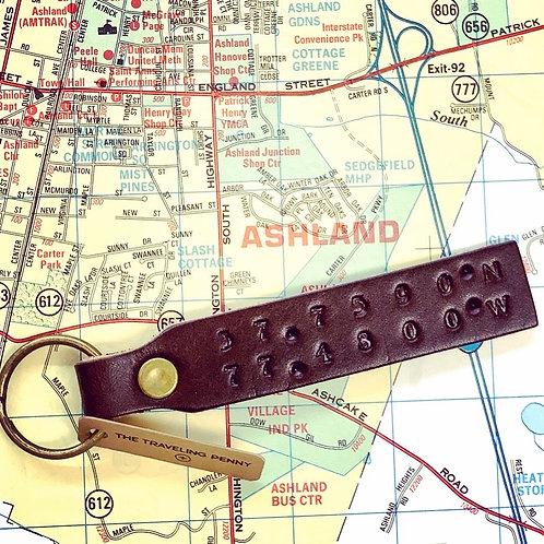 Custom Leather Keychain with Coodinates for Ashland, VA