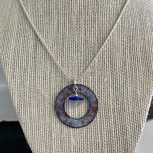 Cobalt blue and Violet Seaglass with Enamel Pendant Necklace