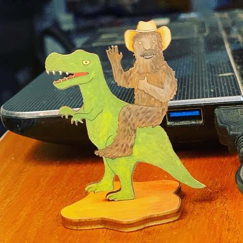 Sasquatch on a T-Rex Action Figure