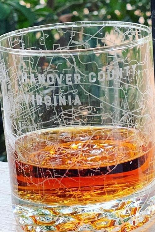 Custom Hanover County Map Rocks Glass