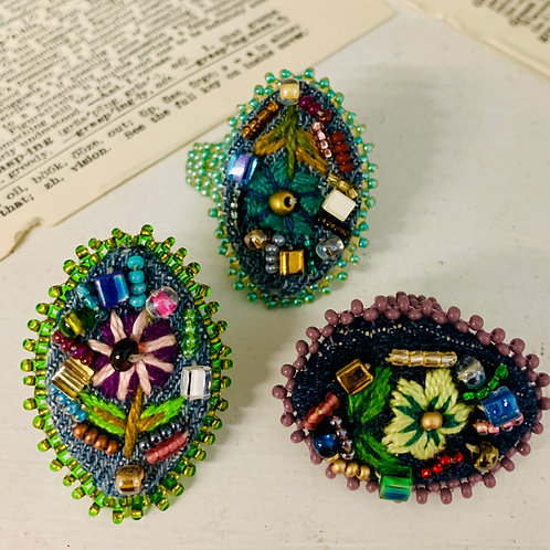 Handmade Beaded and Embroidered Rings