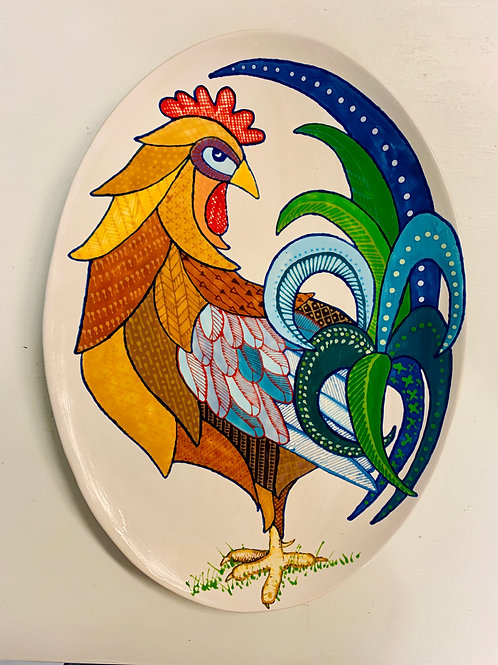 Hand Painted Rooster Oval Serving Tray