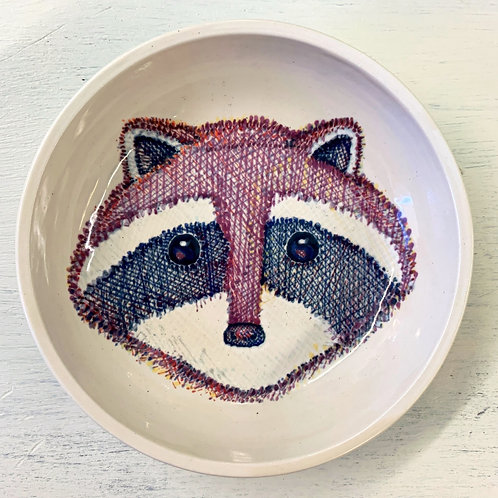 Hand Painted Raccoon Small  Round Bowl