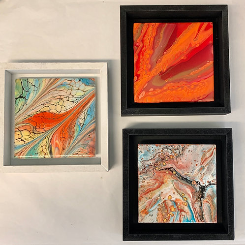 Acrylic Pour Abstract Paintings on Tile