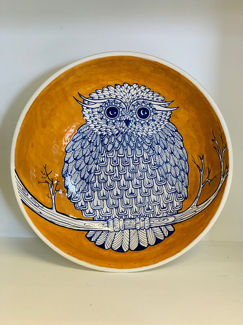 Hand Painted Owl Round Serving Bowl
