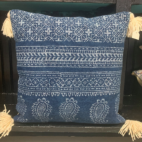 Indigo Color Blocked Wool Pillow
