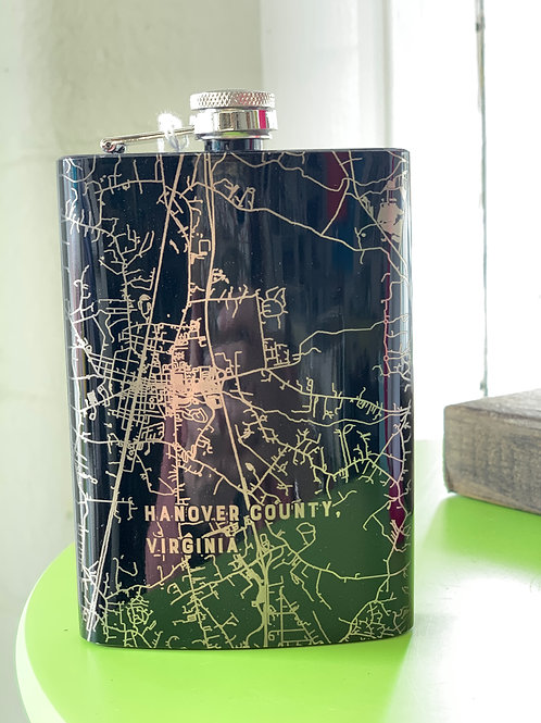 Custom Hanover County Map Metal Flask
