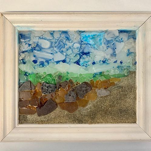 Handmade Sea Glass Beach Framed Art