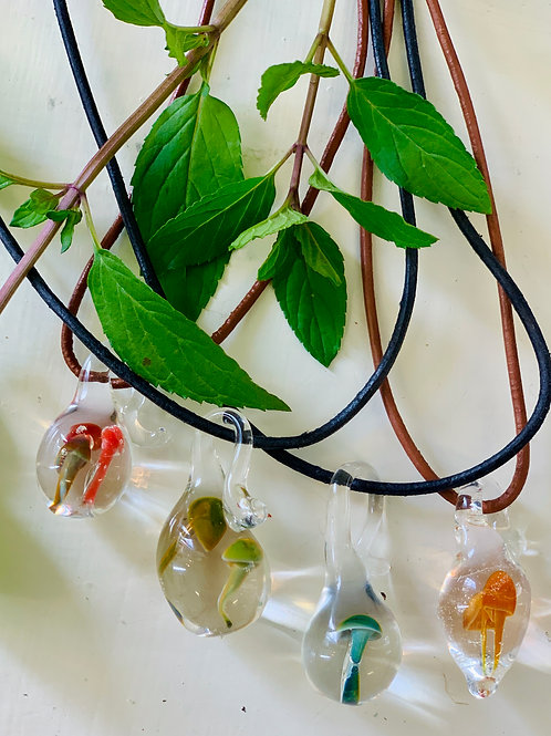 Hand-blown glass mushroom pendants necklaces