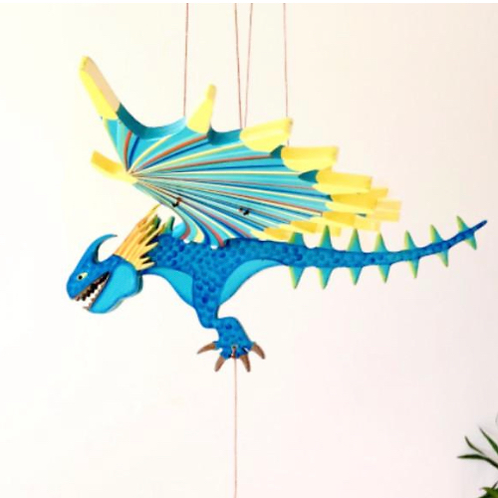 Handcrafted Flying Blue Spike Dragon Mobile