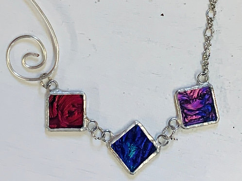 Sterling and Stained Glass Assymetrical necklace