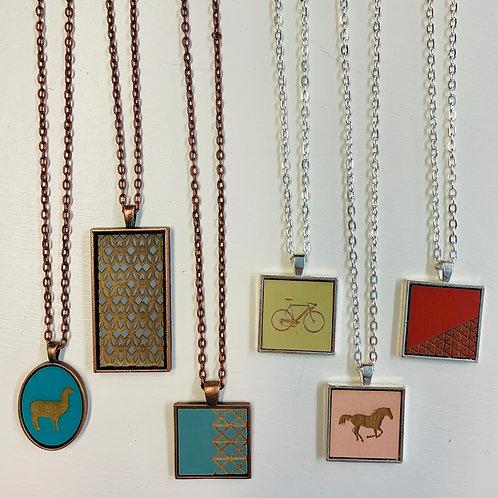 Laser Cut Wood Pendant Necklaces