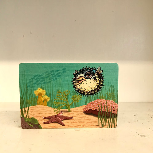 Puffy the Blowfish Wood Art Block