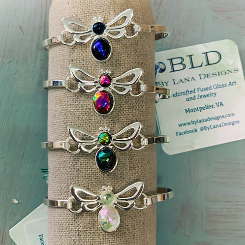 Silver plated Dichroic Glass Bee Cuff