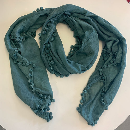 Dark Teal Hand-dyed Scarf with Pom Pom Trim