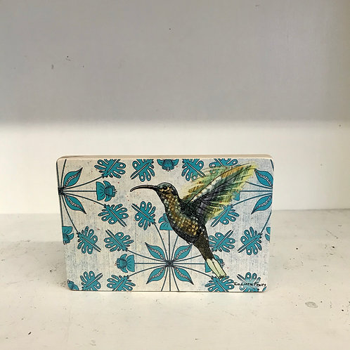 Hummingbird Wood Art Block