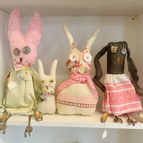 Handmade Folk Art Rabbits