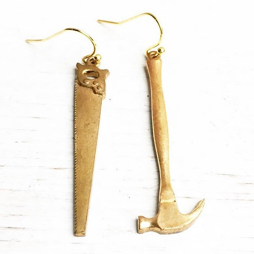 Golden Hammer and Saw Earrings