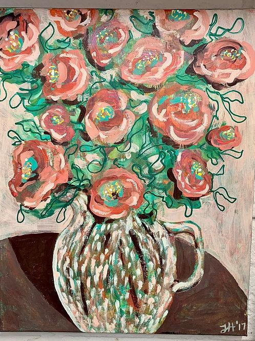 Tea Rose Bouquet Original Painting