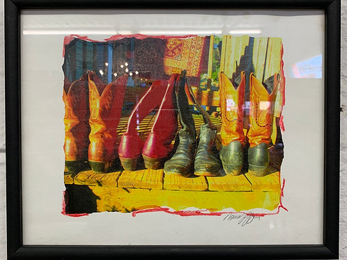 Original Framed Monoprint of Cowboy Boots by Norma Jeffer