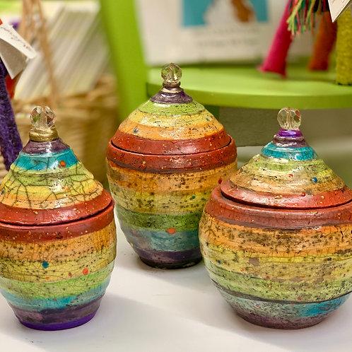 Rainbow Raku Pottery Boxes