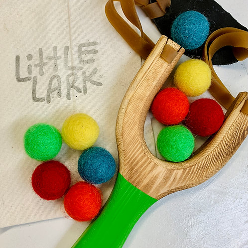 Wooden Slingshot Toy with Felted Wool Balls
