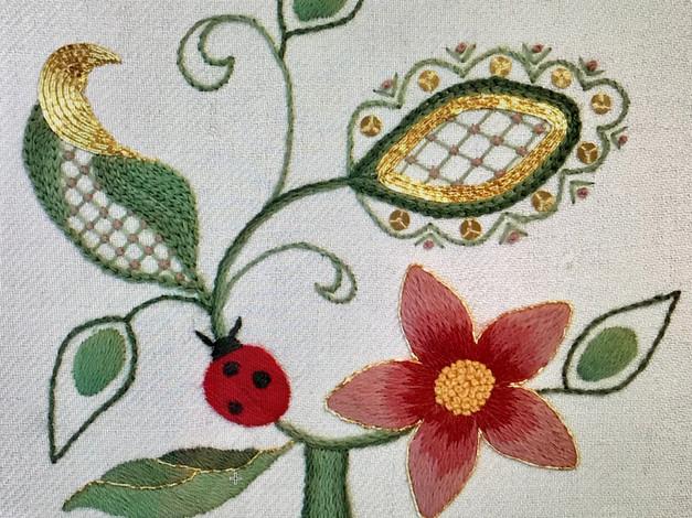 Ladybird Tree | Jacobean Crewelwork with goldwork