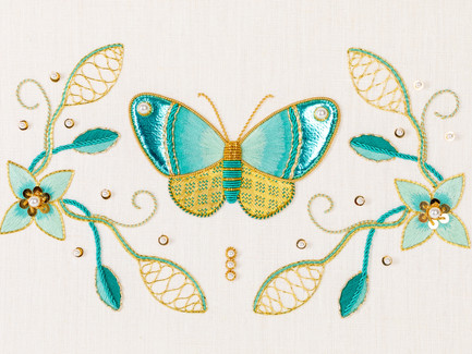 Turquoise Butterfly | Silk Shading & Goldwork