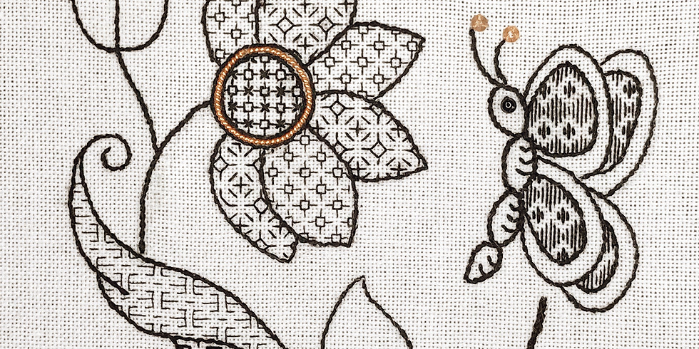 Part 2. Blackwork - 'Flutterby Flower'