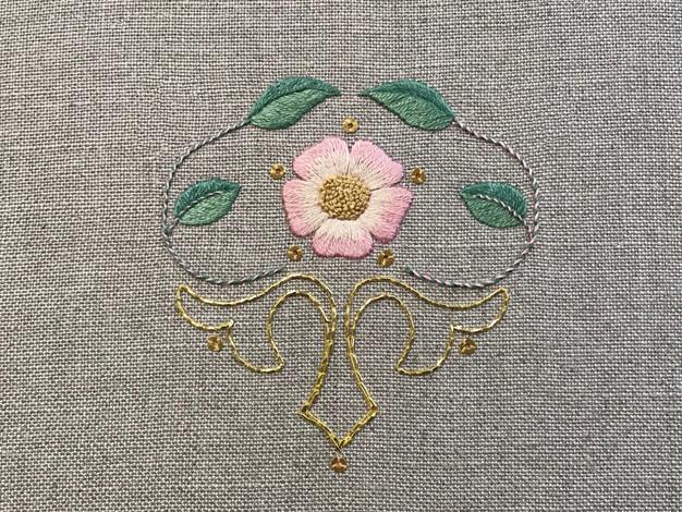 Wild Rose | Silk Shading & Goldwork