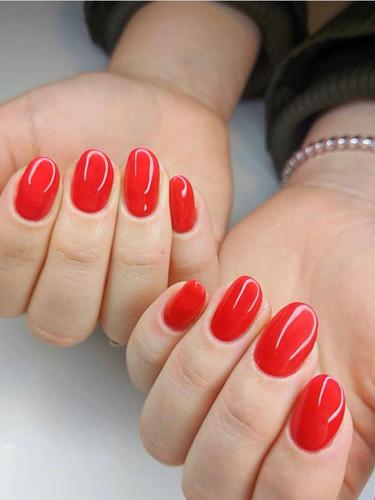 Red Simple Gel Nails