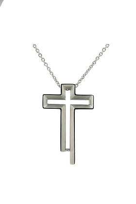 Bevel Cross Necklace