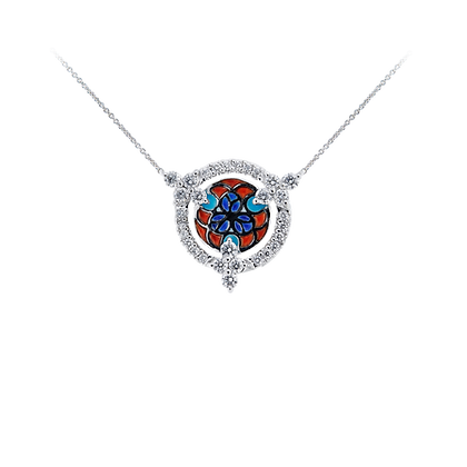 Red and Blue Enamel Necklace