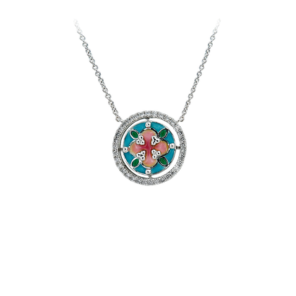 Pink and Blue Enamel Necklace